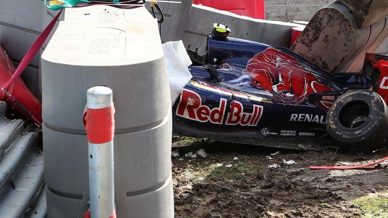 The crash scene after Sainz's crash at Sochi