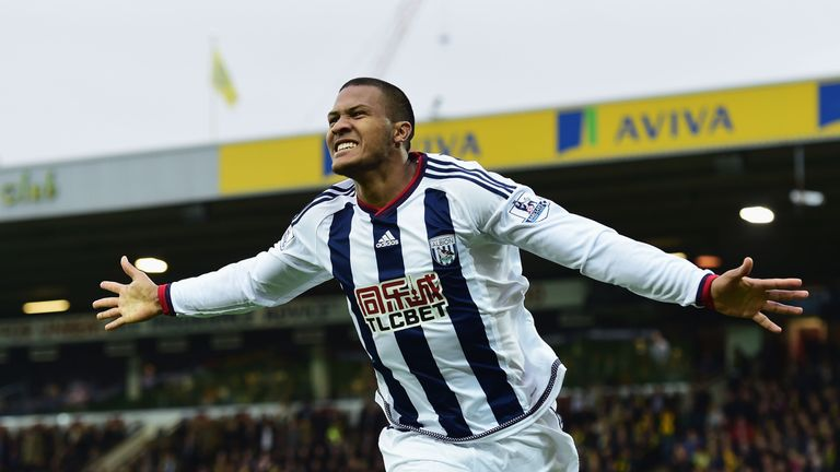 In-form Salomon Rondon celebrates scoring his team's first goal against Norwich