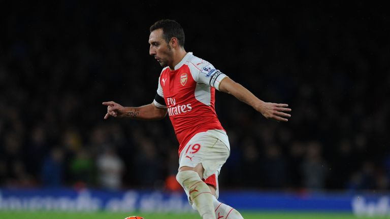 Santi Cazorla: In action against Everton at the Emirates stadium