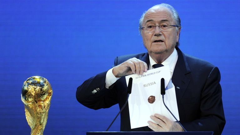 Sepp Blatter announcing Russia had won the bid to stage the 2018 World Cup