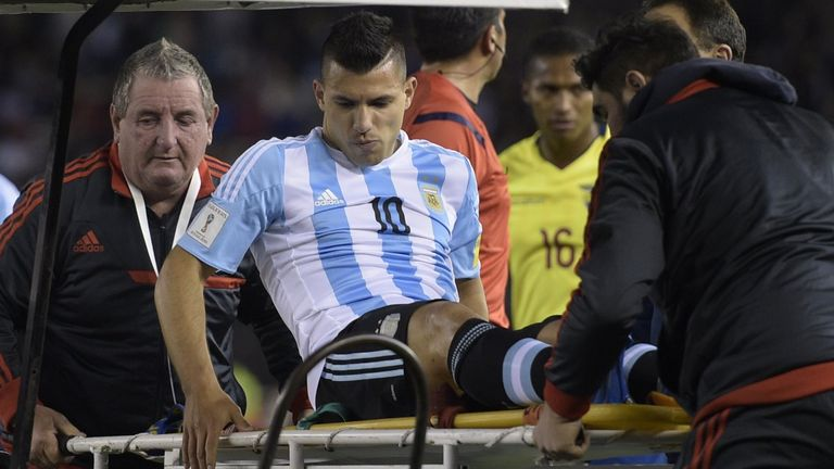 Sergio Aguero is stretchered off during Argentina's World Cup qualifier against Ecuador