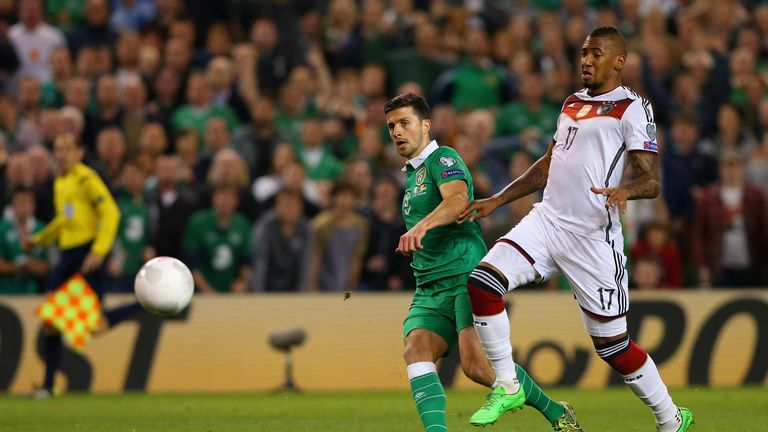 Shane Long puts Ireland 1-0 up against Germany having been on the pitch just five minutes