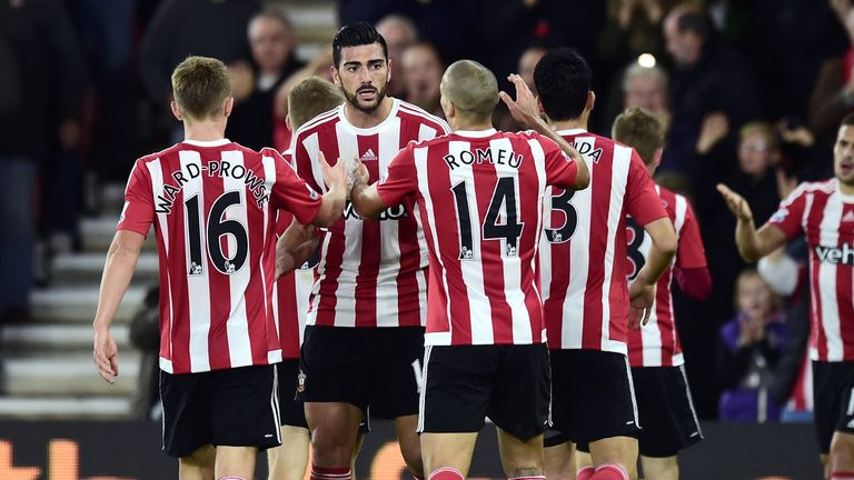 Southampton's Graziano Pelle celebrates with team-mates after scoring his side's second goal of the game during the Capital One Cup, Fourth