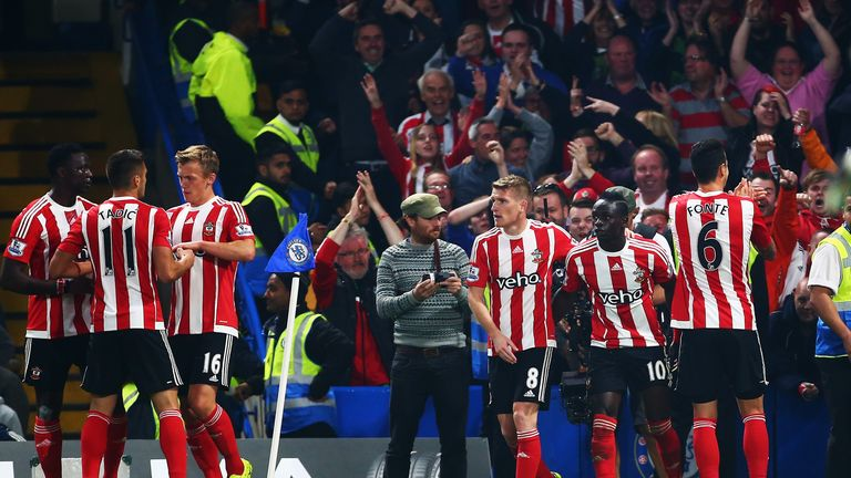Mane (second right) celebrates putting Southampton into the lead