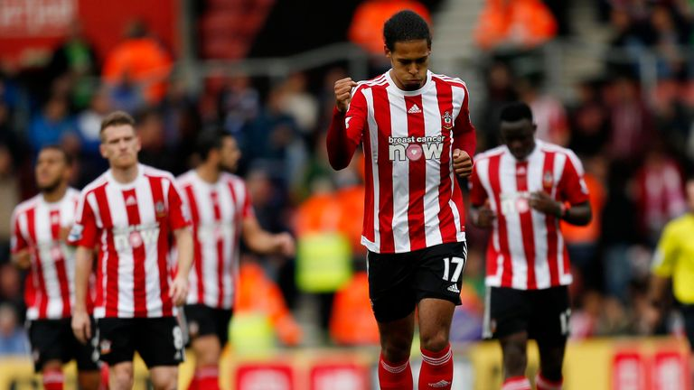 Southampton's Virgil Van Dijk celebrates scoring his teams second goal of the game during the Barclays Premier League match at St Mary's, Southampton.