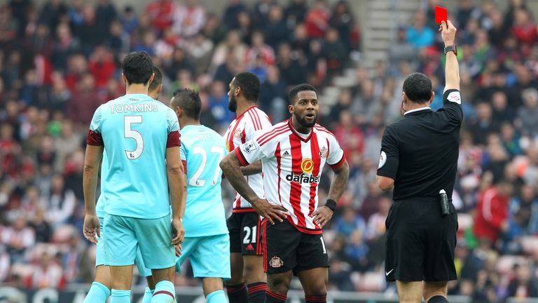 Jeremain Lens is shown a red card two minutes before Payet's second-half equaliser