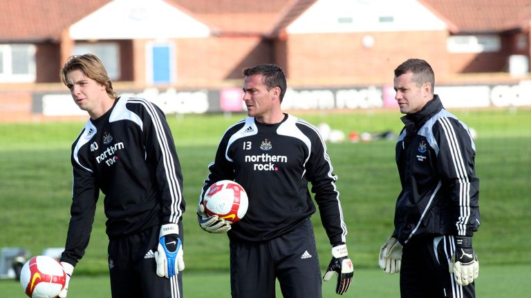 Tim Krul, Steve Harper and Shay Given during a Newcastle United training session in 2008