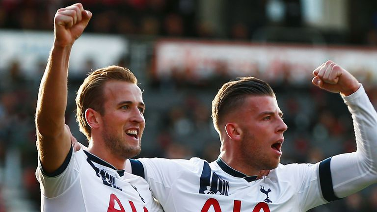 Harry Kane of Tottenham Hotspur celeberates scoring his team's fifth and hat trick goal with his team mate Toby Alderweireld