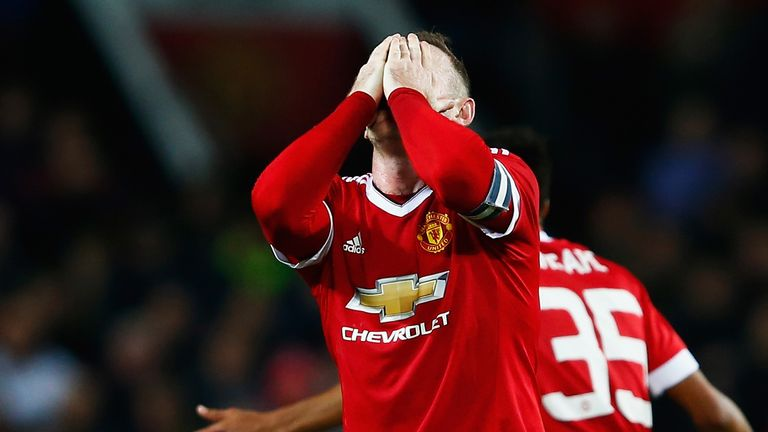 Wayne Rooney of Manchester United reacts during the Capital One Cup Fourth Round match between Manchester United and Middlesbrough