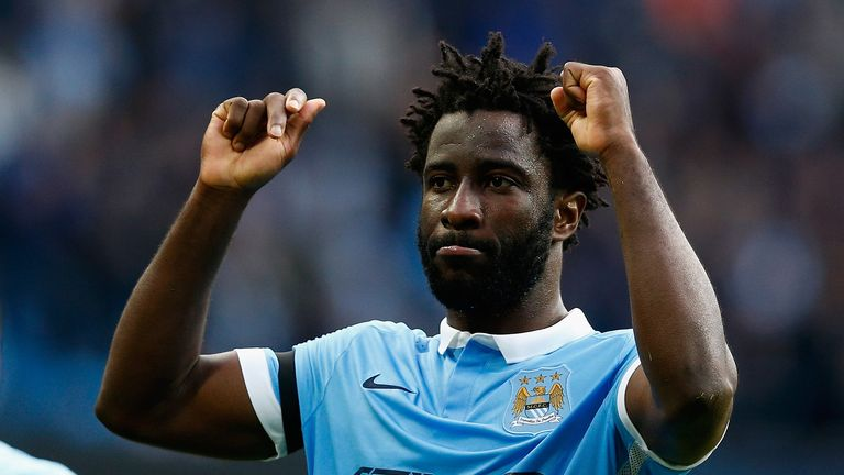 MANCHESTER, ENGLAND - OCTOBER 17:  Wilfred Bony of Manchester City celebrates scoring his team's fifth goal during the Barclays Premier League match betwee