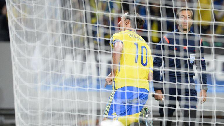 Zlatan Ibrahimovic races away to celebrate his goal
