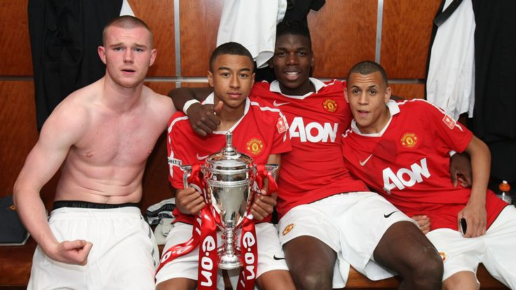 Morrison pictured with Paul Pogba, Jesse Lingard and Ryan Tunnicliffe after winning the 2011 FA Youth Cup final at Man Utd