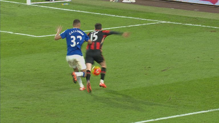Adam Smith goes down under a challenge from Brendan Galloway in the penalty area in Bournemouth's 3-3 draw with Everton