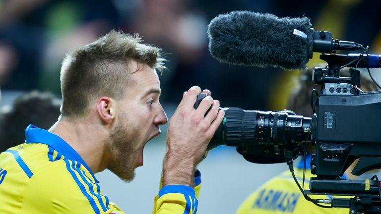 Andriy Yarmolenko from Ukraine celebrates after scoring against Slovenia