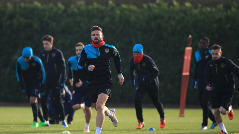 Arsenal's Olivier Giroud during a training session at London Colney, Hertfordshire