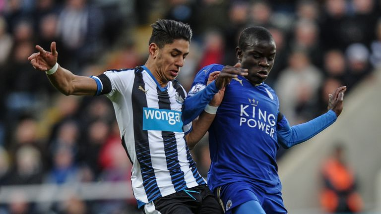 Ayoze Perez (L) of Newcastle United is challenged by N'golo Kante (R) of Leicester City during Newcastle United and Leicester City at St.James' Park