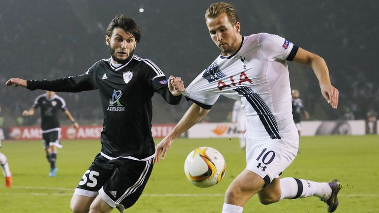 Goalscorer Harry Kane battles for the ball with Badavi Guseynov