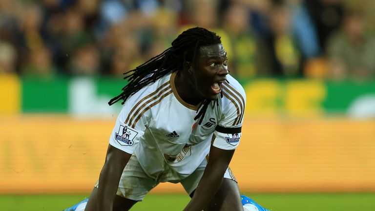 Bafetimbi Gomis reacts during the Barclays Premier League match between Norwich City and Swansea City