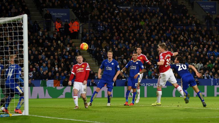 Bastian Schweinsteiger (second right) equalises for Manchester United in first-half injury time