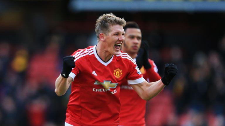 Bastian Schweinsteiger of Manchester United celebrates scoring his team's second goal