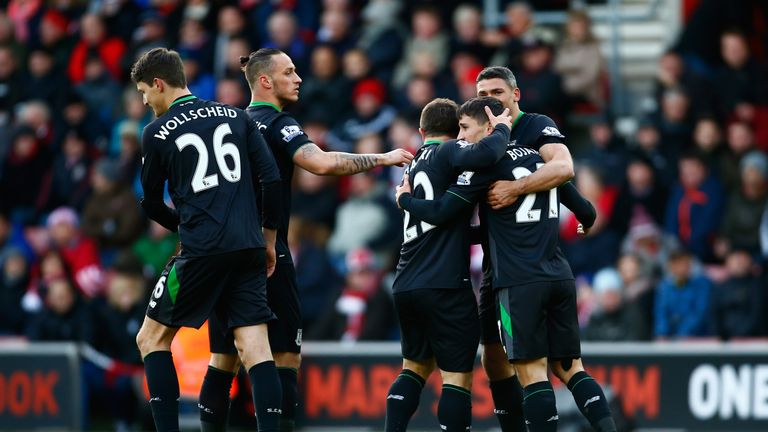 Bojan Krkic of Stoke City celebrates scoring his team's first goal against Southampton.