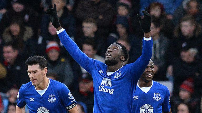 Striker Romelu Lukaku (C) celebrates scoring for Everton - his 50th club goal came on Monday night