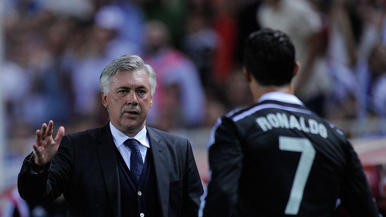Carlo Ancelotti of Real Madrid congratulated Cristiano Ronaldo