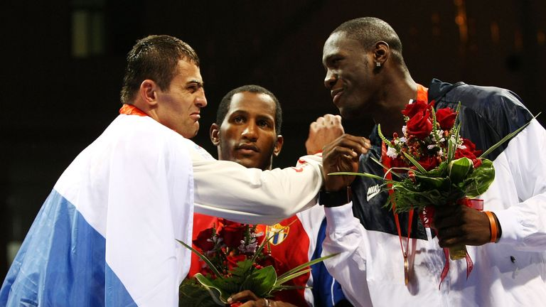 Rakhim Chakhkiev (l) beat Deontay Wilder in the Olympics and narrowly missed becoming the first Beijing winner to earn world title glory