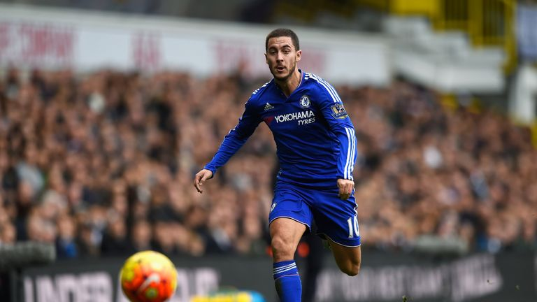 Chelsea's Eden Hazard races to catch the ball
