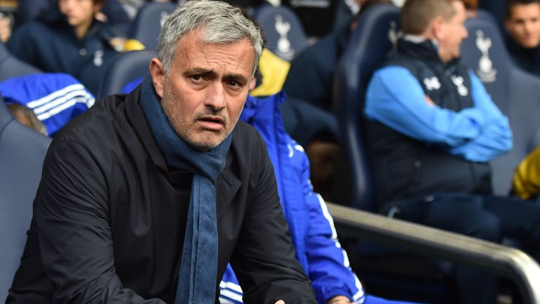 Chelsea manager Jose Mourinho looks on from the bench ahead of his side's Super Sunday clash with Tottenham at White Hart Lane