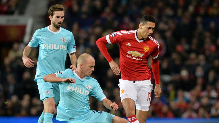 Chris Smalling, who has been on superb form this season, is tasked with stopping Vardy alongside Daley Blind