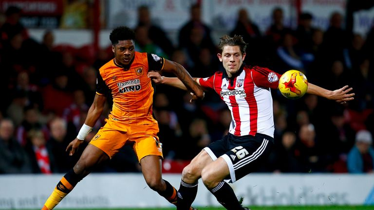 Akpom in action in Hull's 2-0 win over Brentford at the start of November