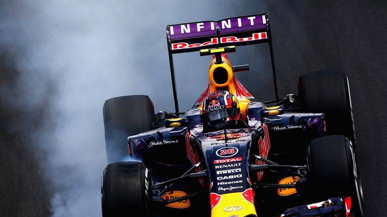 On it: Daniil Kvyat locks up the brakes of his Red Bull during the Brazilian GP - Picture by Clive Mason, Getty Images