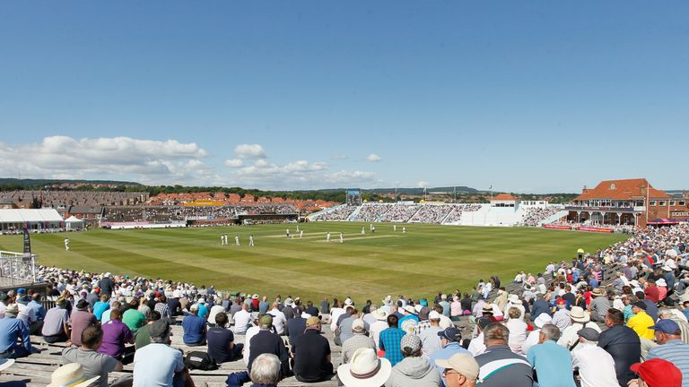 A big crowd enjoys the sunshine at Scarborough during the LV County Championship match between Yorkshire and Durham.