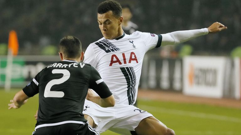 Dele Alli in action for Tottenham against Qarabag