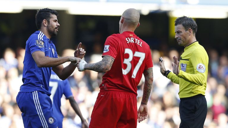 Diego Costa (left) has escaped FA punishment despite a clash with Martin Skrtel on Saturday