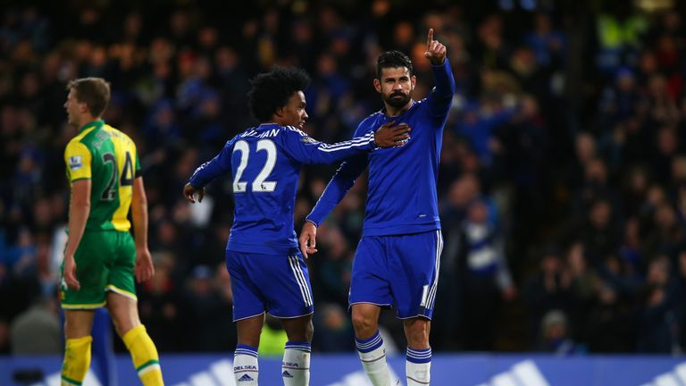 Diego Costa of Chelsea celebrates scoring his team's first goal against Norwich.