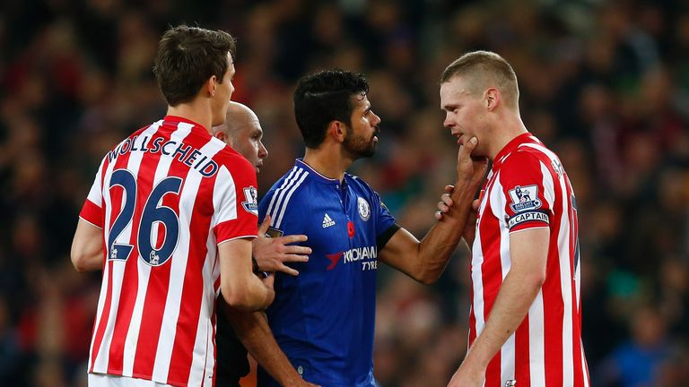 Diego Costa clashes with Ryan Shawcross during Chelsea's defeat to Stoke