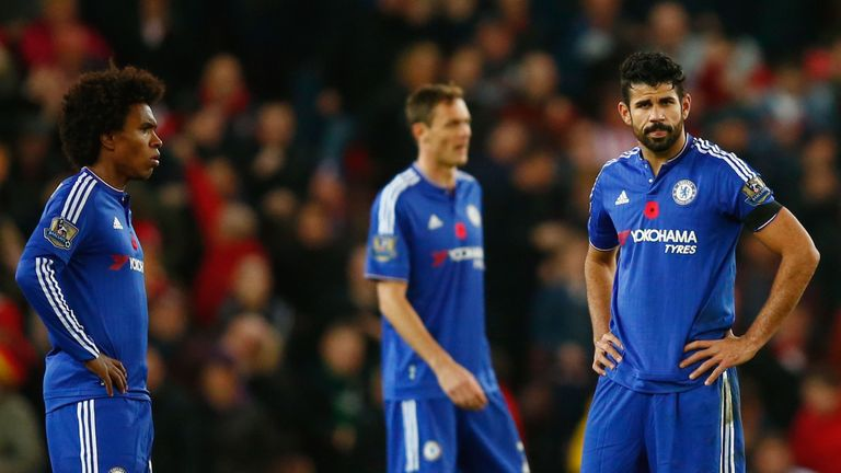 Willian (L) and Diego Costa (R) of Chelsea show their dejection after conceding the first goal to Stoke City during