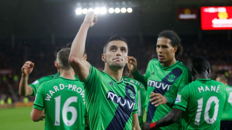 Southampton's Dusan Tadic celebrates his penalty goal during the Barclays Premier League match against Sunderland.
