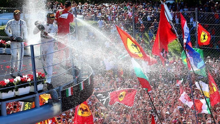 A sea of Tifosi: Lewis Hamilton, Sebastian Vettel and Felipe Massa celebrate on the Italian GP podium - Picture by Mark Thompson, Getty Images
