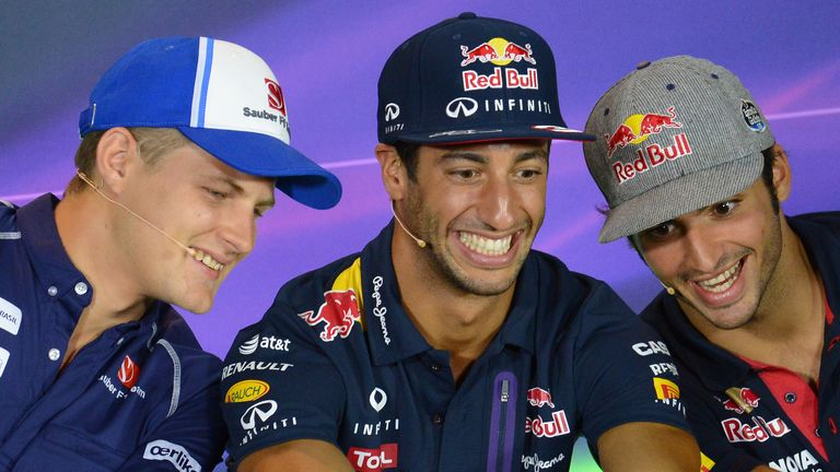 Say cheese: Marcus Ericsson, Daniel Ricciardo & Carlos Sainz pose for a selfie during a Monza press conference - Picture by Patrik Lundin, Sutton Images