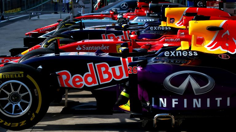 The world's most expensive car park: The cars in parc ferme after qualifying for the Brazilian GP - Picture by Mark Thompson, Getty Images