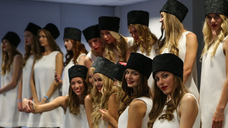 Girl power: The Russian GP grid girls invade the post-race press conference - Picture by Mirko Stange, Sutton Images