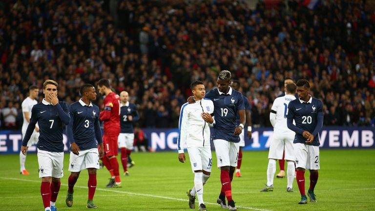 England's Jesse Lingard and France's Paul Pogba reunited at Wembley