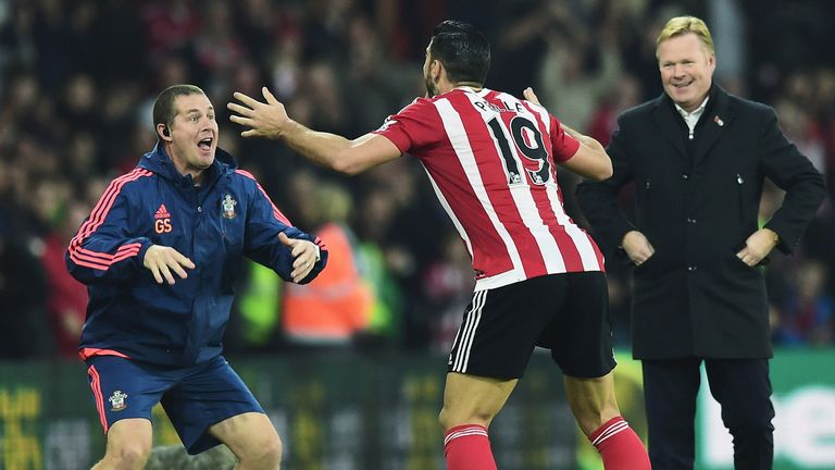 Graziano Pelle of Southampton performs a haka style celebration after scoring