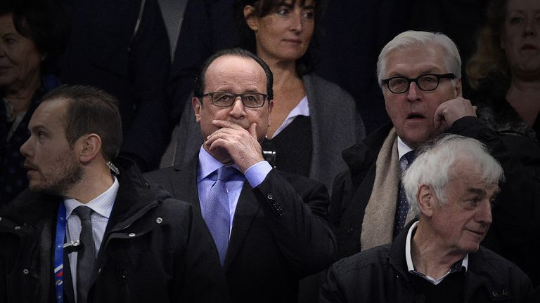 French President Francois Hollande (middle) was at the Stade de France