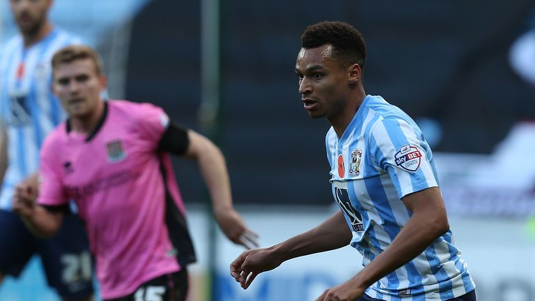 COVENTRY, ENGLAND - NOVEMBER 07:  Jacob Murphy of Coventry City in action during The Emirates FA Cup First Round match between Coventry City and Northampto