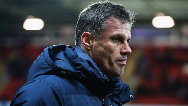 Jamie Carragher looks on during the U17 friendly match between England U17 and Germany U17