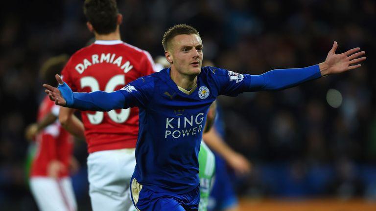 Jamie Vardy goal celeb, Leicester City v Manchester United, Premier League